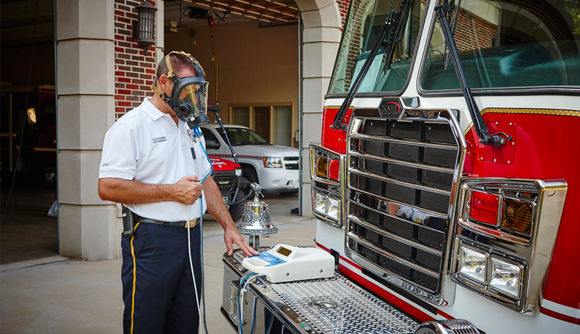 fire department chief fit testing mask with OHD Quantifit